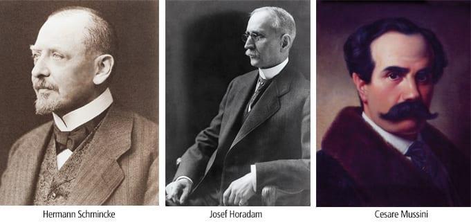 Fondatori di Schmickr Herman Schmincke e Josef Horadam. A destra Cesare Mussini, l'autore delle ricette per i colori ad olio con resine.